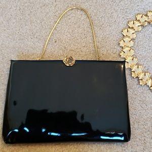 Vintage Ingber Black gold rose plated purse